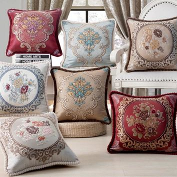 European Style Luxury Bed Decorative Throw Pillows Cushions Cover Home Chair Embroidery Pillow cover ChairDecorative 45x45cm B36