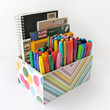 Vibrant Desk Caddy Organizer - Decoupage Home Office Organizer - Modern Themed Decor - Solid Wood construction - Back to school Gift