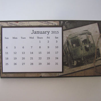 Train 2015 Desk Calendar, Desktop Calendar,  2015 Calendar, Gift for Him, Masculine, Father's Day
