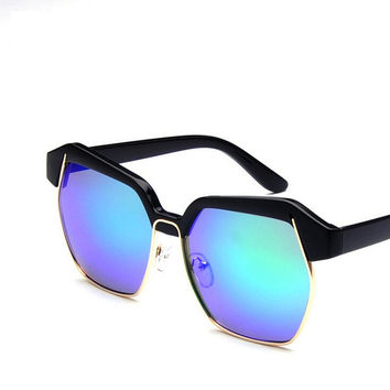 New High Quality UV400 UV protection Sunglasses glass rhombic beach sunglasses S963