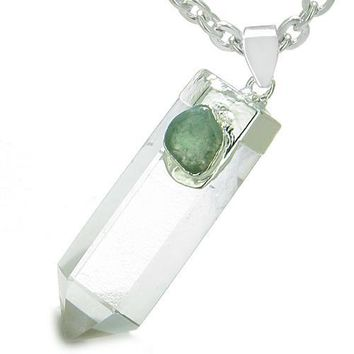 Astrological Gemini Amulet Double Crystal Point Green Aventurine Quartz Zodiac Pendant Necklace