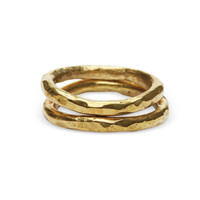Raven + Lily Hammered Brass Stackable Rings Gold