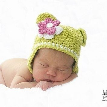 Pdf Pattern Earflap Monkey hat with detachable flowers and braids Sizes Preemie to 4 Years No. 1