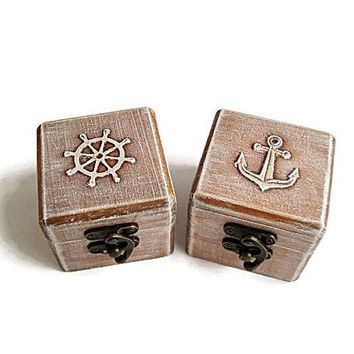 Sea wedding boxes Beach Ship Ring boxes, The ring boxes, Ring box subscription, Small jewellery box, Wooden ring box, Ring bearer box