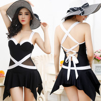 New Fashion Black White Patchwork One Piece Swimwear Skirt Swim Suit Sexy Plus Size Bathing Suit Summer Style Bodysuit cute swimwear