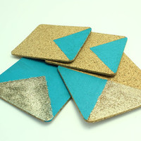 Chevron Geometric Coasters - Gold Glitter and Turquoise Coasters - Drink Coasters - CIJ