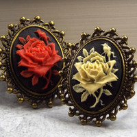 Rose Cameo Flower Ring, Red or Ivory