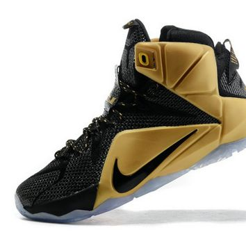 Cheapest and Newest LeBron 12 Grammy Akron PE Black Metallic Gold Brand sneaker