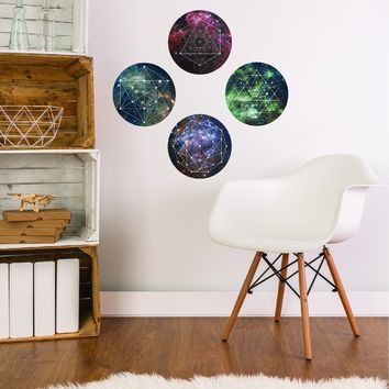 Space Galaxy Geometry Wall Decals, Reposition and Reuse
