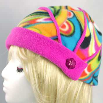 Electric Pink Fleece Funky Flapper Hat | Rainbow Colors Cloche with Pink Brim | Fun Beanie in Psychedelic Colors