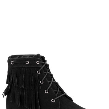 Faux Suede Native American Shoes With Tassels