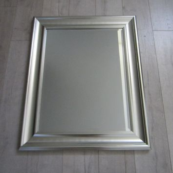 Studio Craft Mirror Silver Painted Modern Wood Frame
