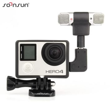 SOONSUN GoPro Professional Audio Recording External Stereo Microphone with Adapter + Stand Frame Housing for Gopro Hero 3 3+ 4