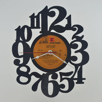 Handmade Vinyl Record Wall Clock Hanging Clock  (artist is Neil Young)