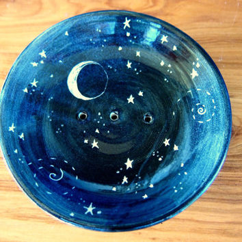 Soap dish stars and moon black glazed stoneware night sky starry night