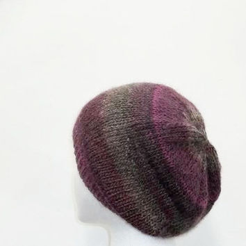 Beanie hat, knitted beret,  shades of purple  4939