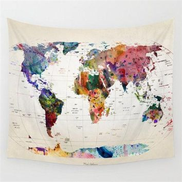 3D World Map Polyester Wall Tapestry