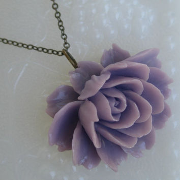 Purple flower necklace- Purple ruffle flower necklace- Large flower necklace- Purple large flower necklace- Ruffle flower- Lilac flower