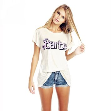 Barbie sweet College wind do the old alphabet flash back printing loose short-sleeved t shirt female women summer fashion new