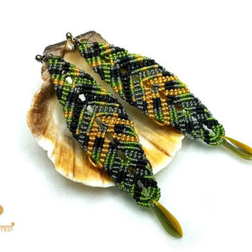 "Micro Macrame Earrings ""Old forest"", multicolor, inspired by the forest, knoted jewelry"