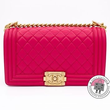 Auth Chanel New A67086 Y07659 Medium Boy Leboy Fuchsia Lambskin Shoulder Bag Ghw