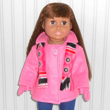 18 inch Girl Doll Clothes Hot Pink Coat Fleece Jacket with Mittens and Scarf American Doll Clothes