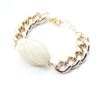 SPRING SALE - 20% OFF! Arm Candy - Chunky Chain Bracelet with Grey drop bead - 24k gold plated