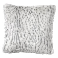 Faux-Fur Pillow Cover, Gray Leopard