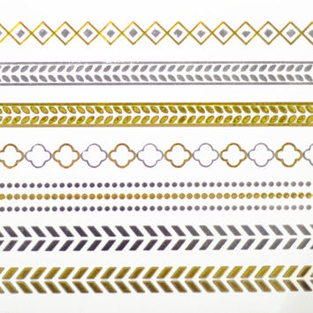 Arm Bands Metallic Temporary Tattoo Gold Silver Festival Beach Holiday Gift Present Birthday Gift For Her