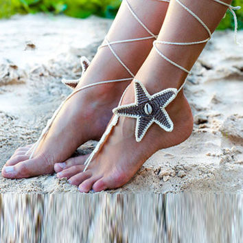 White Starfish Crochet Toe Ring Barefoot Sandals