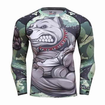 Mens Fitness Long Sleeves Compression Shirts Crossfit Workout Top