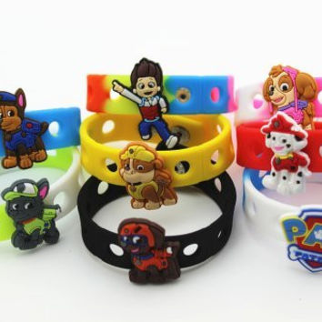 16pcs (Puppy Power) Paw Patrol Shoe Charms & Wristband Bracelet Kids Party Gifts