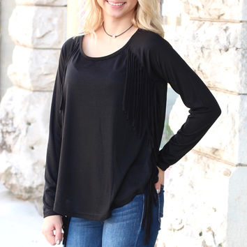 Basic Long Sleeve with Side Fringe {Black}