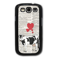 Cow Love On Dictionary Horses - Protective Designer BLACK Case - Fits Samsung Galaxy S3 SIII i9300