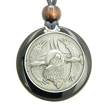 Amulet Howling Wolf Eagles Magic Medallion Circle Black Onyx Pendant Necklace