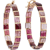 Pink Tourmaline & Gold Hoop Earrings