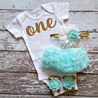 Baby Girl 1st Birthday Outfit Cake Smash Photography Props Gold One Onesuit Mint Bloomers Barefoot Sandals White Lola Bean Clothing