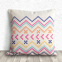 Pillow Cover, Aztec Pillow Cover, Tribal Pillow Cover, Linen Pillow Cover 18x18 - Printed Geometric - 045