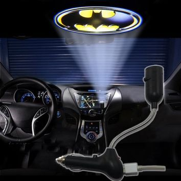 3D Bat batman shield badge USB Car Cigarette logo shadow projector light lamp LED roof projection logo light projector atmosphere reading light