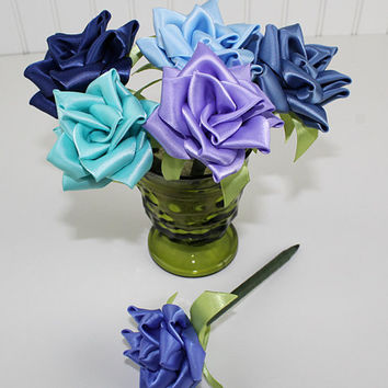 Mixed Blue Flower Pen Set Ribbon Rose Single Color or Assortment of 6 Wedding Favors Reception Pen Party Bridal Shower Handmade