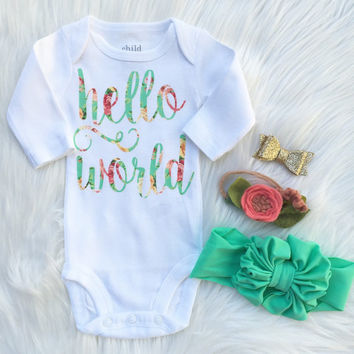 """floral chic """"hello world"""" Onesuit coming home outfit or hospital outfit shower gift by sweet sprouts"""