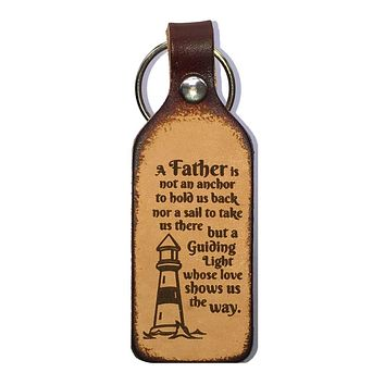 A Father is a Guiding Light Leather Engraved Keychain