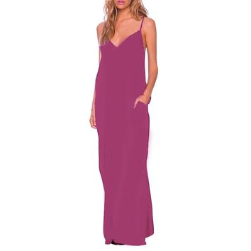 Sexy Plunging Neck Suspender Loose with Pocket Solid Color Maxi Dress for Women