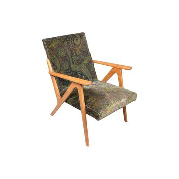 Pre-owned Green Paisley Mid-Century Modern Danish Chair