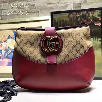 HCXX 1954 Gucci 2019 Shinee GG Magnet Shoulder Canvas Leather Handbag Red Brown