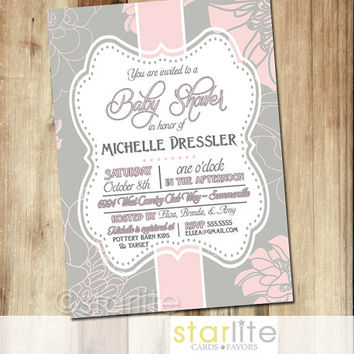 Baby Shower Invitation - Pink Grey Floral 5x7 - Vintage style frame, baby girl - unique invitation typography - You Print