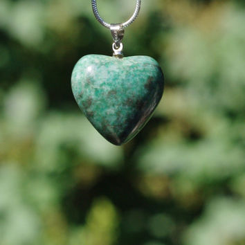 Chrysocolla Stone Heart Pendant on a Sterling Silver Chain ~ Green Stone Necklace ~ Teal Coloured Stone ~ Meditation Stone ~ Birthday Gift