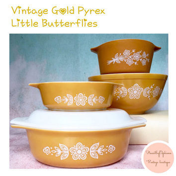 Vintage Pyrex Set of 4 Gold Butterflies Retro Kitchen Decor Casserole Dishes / Pyrex Mixing Bowl / Cinderella Pyrex / Vintage Kitchen