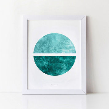 Abstract art print, Circle art, Modern wall decor, Minimalist print, Abstract watercolor print, Teal decor, Aquamarine Geometric wall art