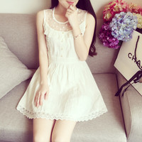 Lace High Waist Cotton Sleeveless Vest Dress